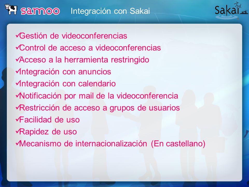 Integración con Sakai Gestión de videoconferencias Control de acceso a videoconferencias Acceso a la herramienta restringido Integración con anuncios