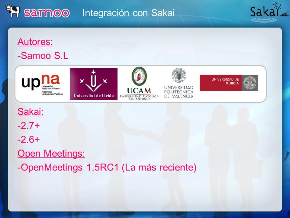 Integración con Sakai Autores: -Samoo S.L Sakai: -2.7+ -2.6+ Open Meetings: -OpenMeetings 1.5RC1 (La más reciente)