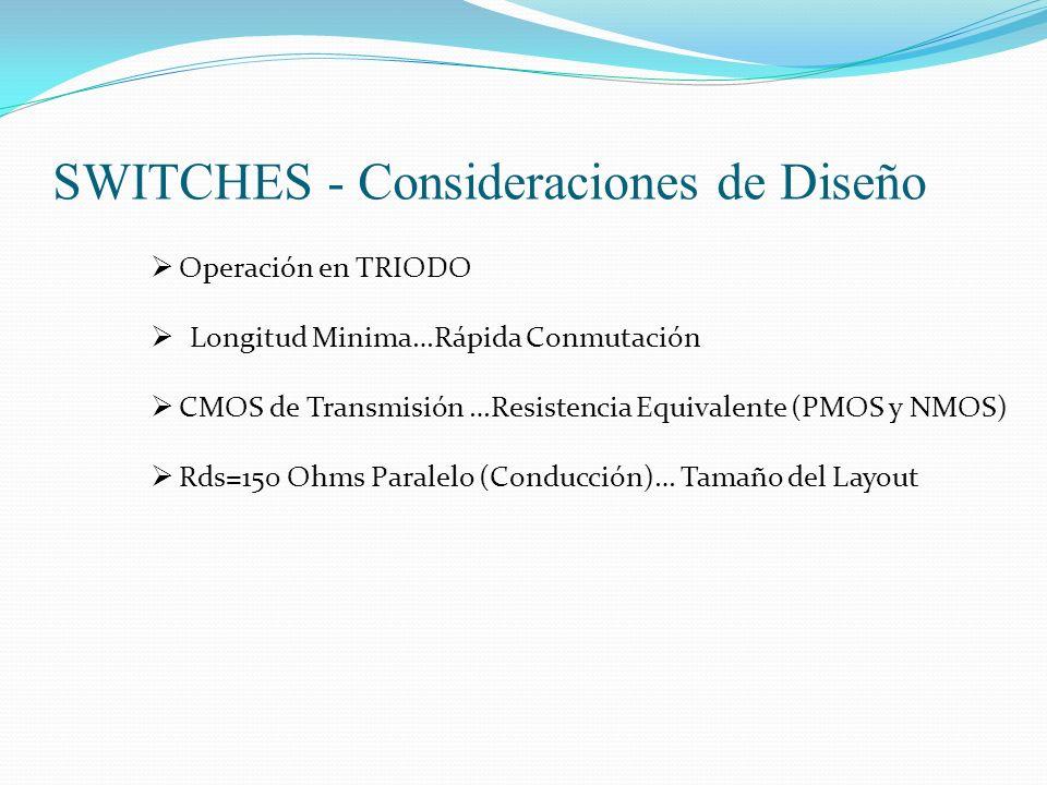 SWITCHES - Consideraciones de Diseño Operación en TRIODO Longitud Minima…Rápida Conmutación CMOS de Transmisión …Resistencia Equivalente (PMOS y NMOS)
