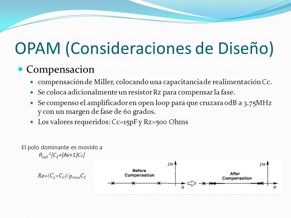 OPAM (Consideraciones de Diseño) Compensacion compensación de Miller, colocando una capacitancia de realimentación Cc. Se coloca adicionalmente un res