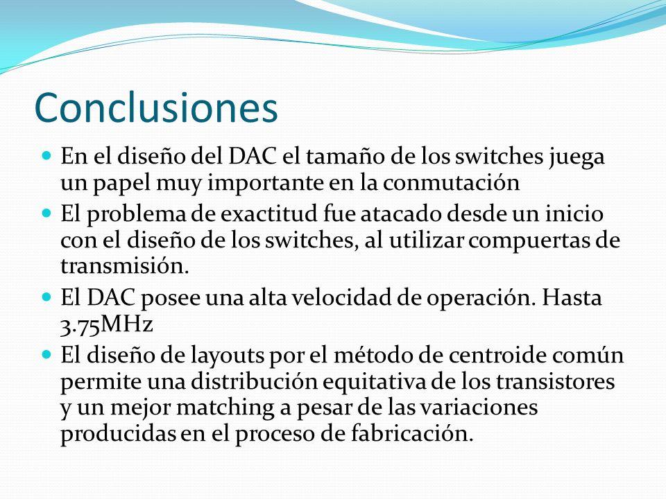 Conclusiones En el diseño del DAC el tamaño de los switches juega un papel muy importante en la conmutación El problema de exactitud fue atacado desde