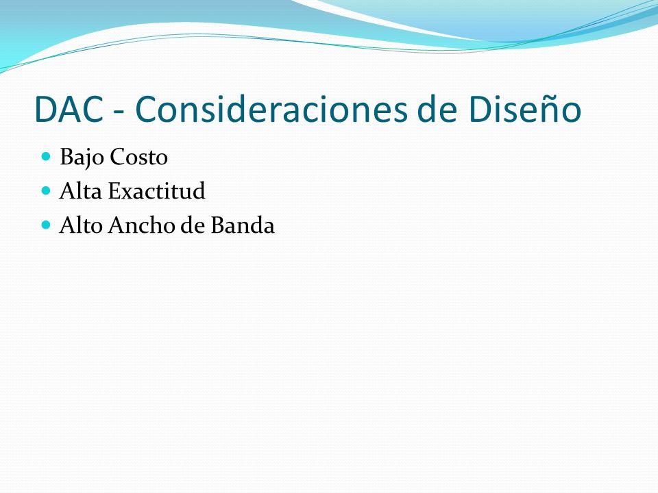 DAC - Consideraciones de Diseño Bajo Costo Alta Exactitud Alto Ancho de Banda