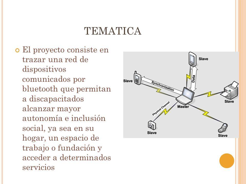 TEMATICA El proyecto consiste en trazar una red de dispositivos comunicados por bluetooth que permitan a discapacitados alcanzar mayor autonomía e inclusión social, ya sea en su hogar, un espacio de trabajo o fundación y acceder a determinados servicios