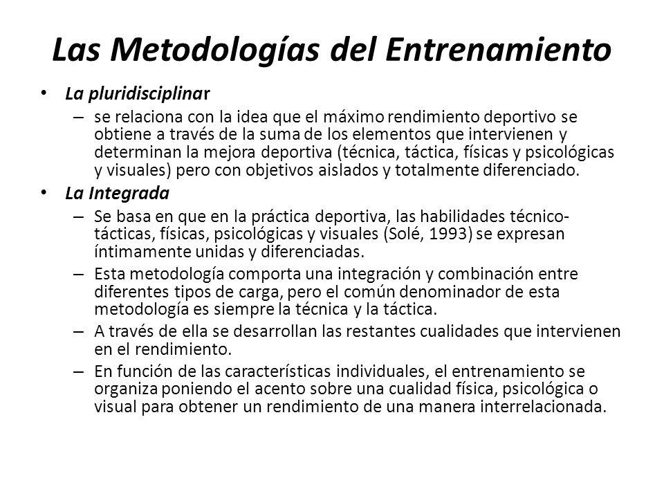 Las Metodologías del Entrenamiento La pluridisciplinar – se relaciona con la idea que el máximo rendimiento deportivo se obtiene a través de la suma d