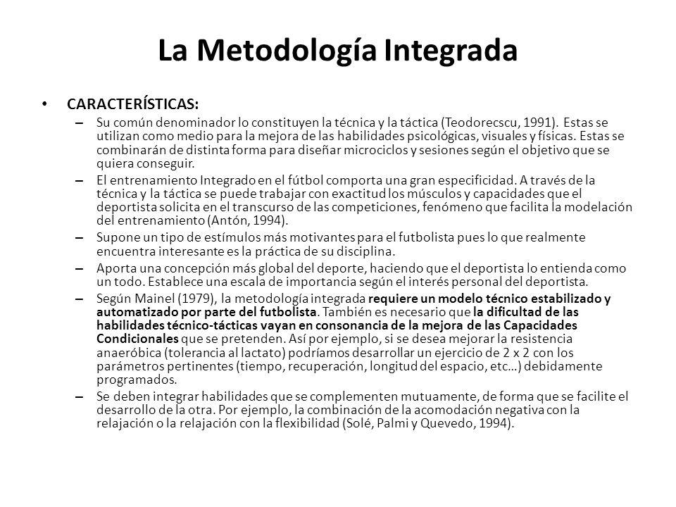 La Metodología Integrada CARACTERÍSTICAS: – Su común denominador lo constituyen la técnica y la táctica (Teodorecscu, 1991). Estas se utilizan como me