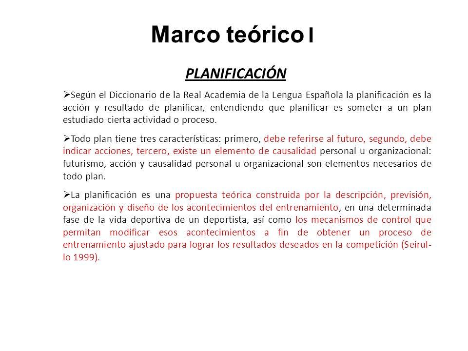 Marco teórico I PLANIFICACIÓN Según el Diccionario de la Real Academia de la Lengua Española la planificación es la acción y resultado de planificar,