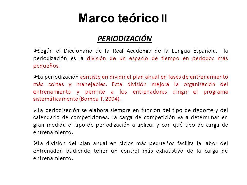 Marco teórico II PERIODIZACIÓN Según el Diccionario de la Real Academia de la Lengua Española, la periodización es la división de un espacio de tiempo