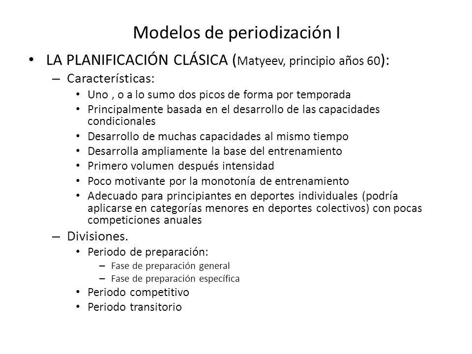 Modelos de periodización I LA PLANIFICACIÓN CLÁSICA ( Matyeev, principio años 60 ): – Características: Uno, o a lo sumo dos picos de forma por tempora