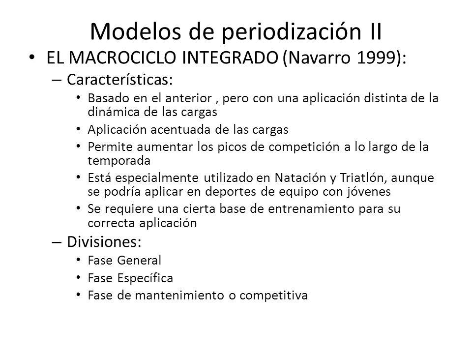 Modelos de periodización II EL MACROCICLO INTEGRADO (Navarro 1999): – Características: Basado en el anterior, pero con una aplicación distinta de la d