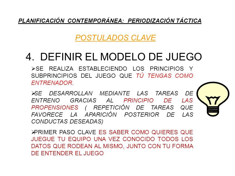 PLANIFICACIÓN CONTEMPORÁNEA: PERIODIZACIÓN TÁCTICA POSTULADOS CLAVE 4. DEFINIR EL MODELO DE JUEGO SE REALIZA ESTABLECIENDO LOS PRINCIPIOS Y SUBPRINCIP