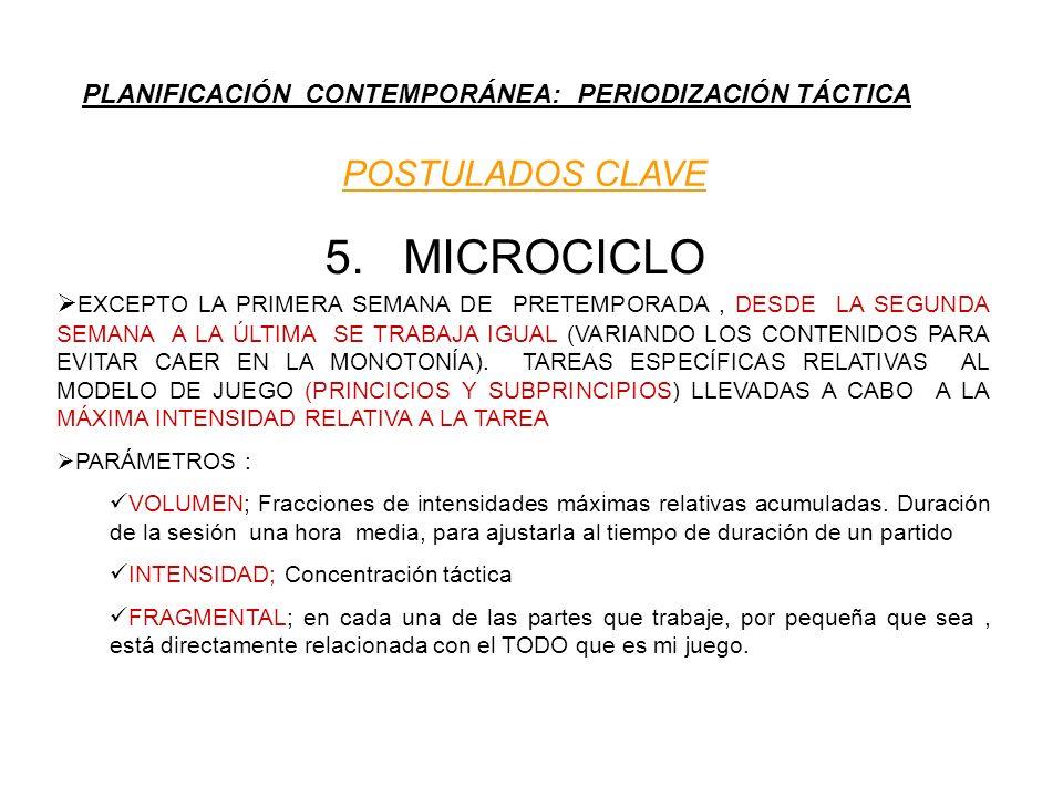 PLANIFICACIÓN CONTEMPORÁNEA: PERIODIZACIÓN TÁCTICA POSTULADOS CLAVE 5. MICROCICLO EXCEPTO LA PRIMERA SEMANA DE PRETEMPORADA, DESDE LA SEGUNDA SEMANA A