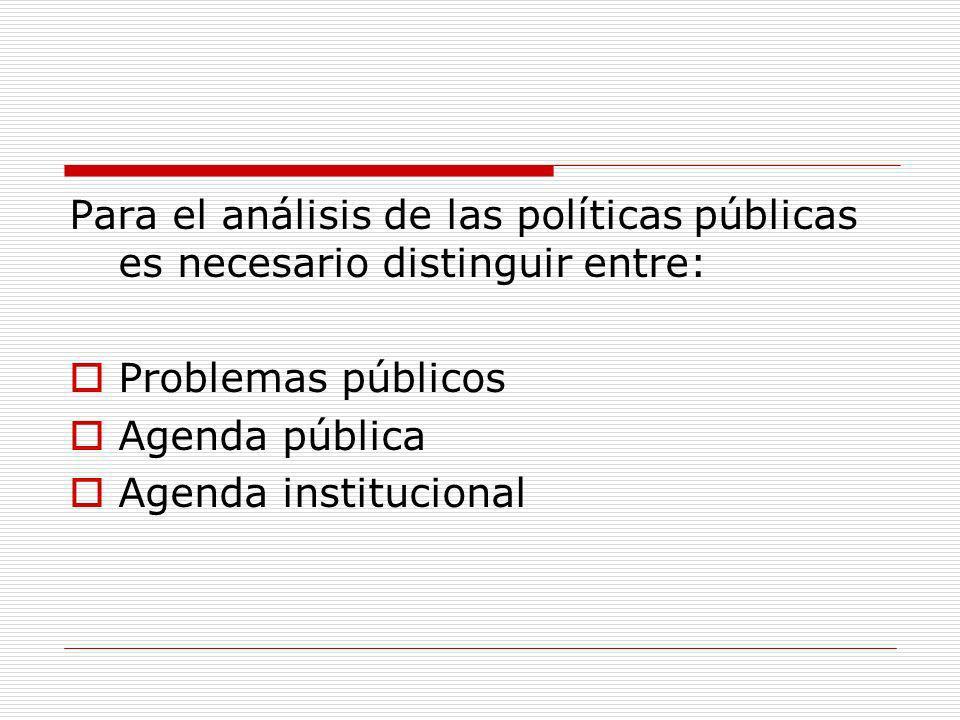 Para el análisis de las políticas públicas es necesario distinguir entre: Problemas públicos Agenda pública Agenda institucional