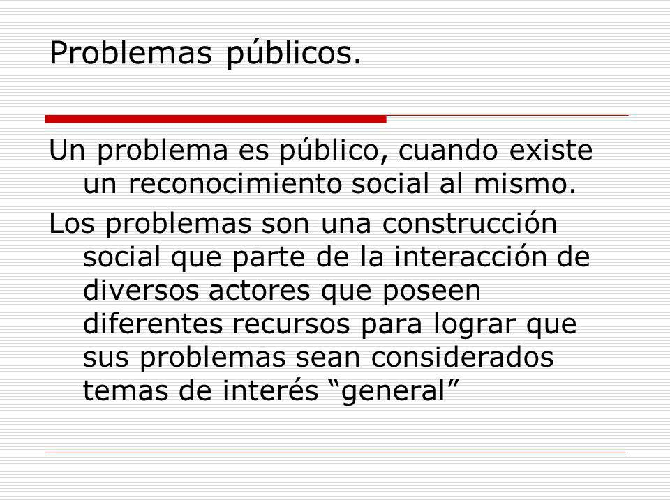 Problemas públicos. Un problema es público, cuando existe un reconocimiento social al mismo. Los problemas son una construcción social que parte de la