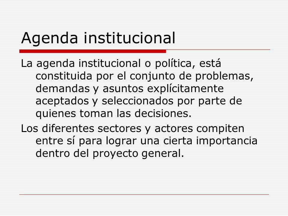 Agenda institucional La agenda institucional o política, está constituida por el conjunto de problemas, demandas y asuntos explícitamente aceptados y seleccionados por parte de quienes toman las decisiones.