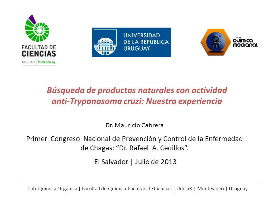 Búsqueda de productos naturales con actividad anti-Trypanosoma cruzi: Nuestra experiencia Dr. Mauricio Cabrera Primer Congreso Nacional de Prevención