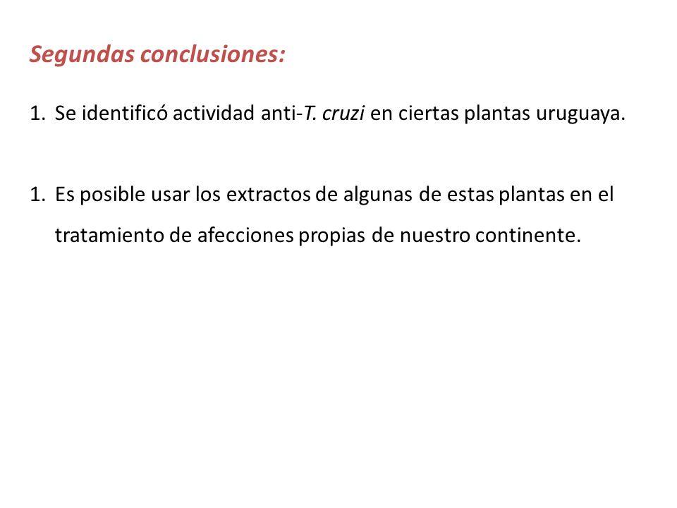 Segundas conclusiones: 1.Se identificó actividad anti-T. cruzi en ciertas plantas uruguaya. 1.Es posible usar los extractos de algunas de estas planta