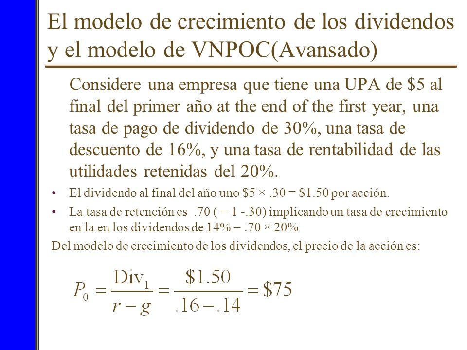 7El modelo de crecimiento de los dividendos y el modelo de VNPOC(Avansado) Tenemos dos formas de evaluar una acción: –El modelo de descuento de divide