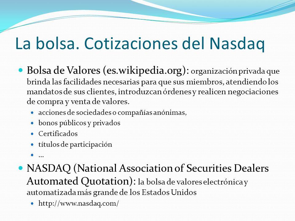 Bolsa de Valores (es.wikipedia.org): organización privada que brinda las facilidades necesarias para que sus miembros, atendiendo los mandatos de sus