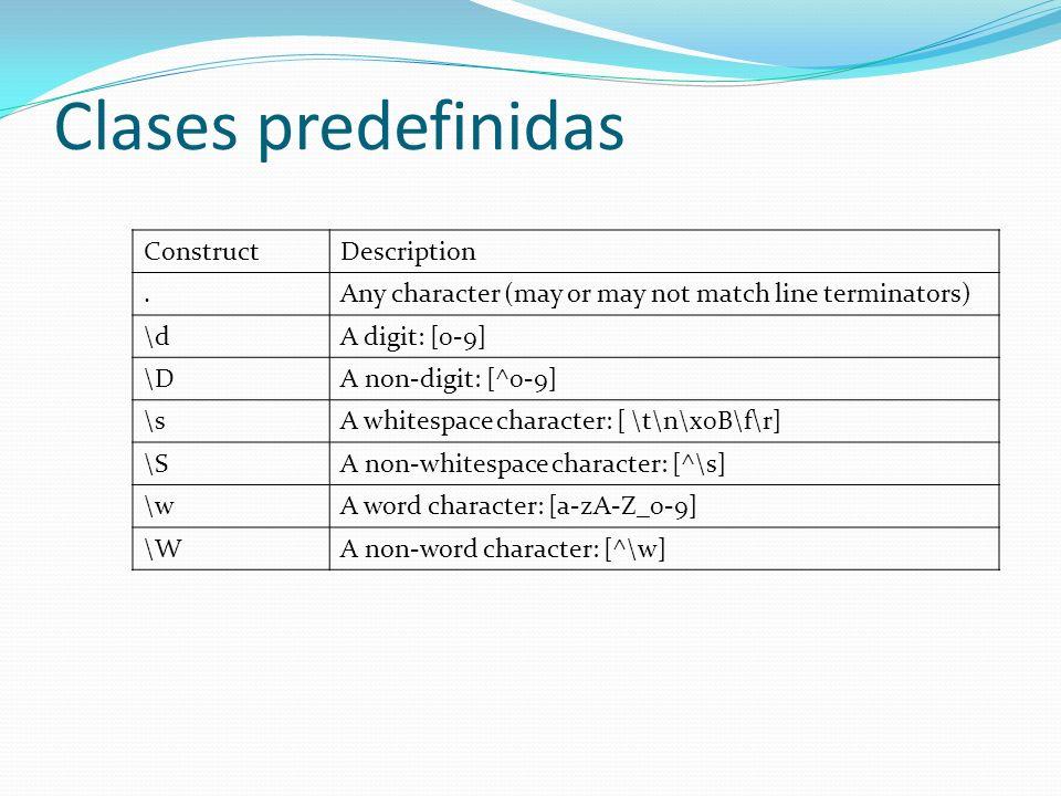 Clases predefinidas ConstructDescription.Any character (may or may not match line terminators) \dA digit: [0-9] \DA non-digit: [^0-9] \sA whitespace c
