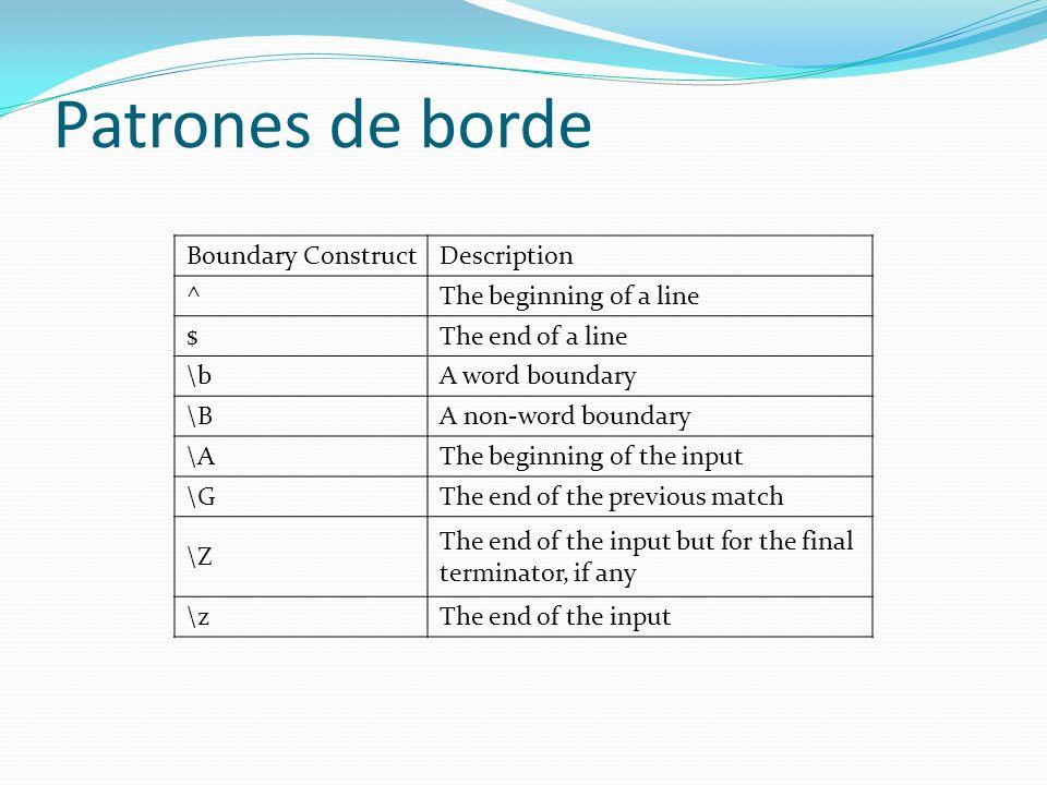 Patrones de borde Boundary ConstructDescription ^The beginning of a line $The end of a line \bA word boundary \BA non-word boundary \AThe beginning of