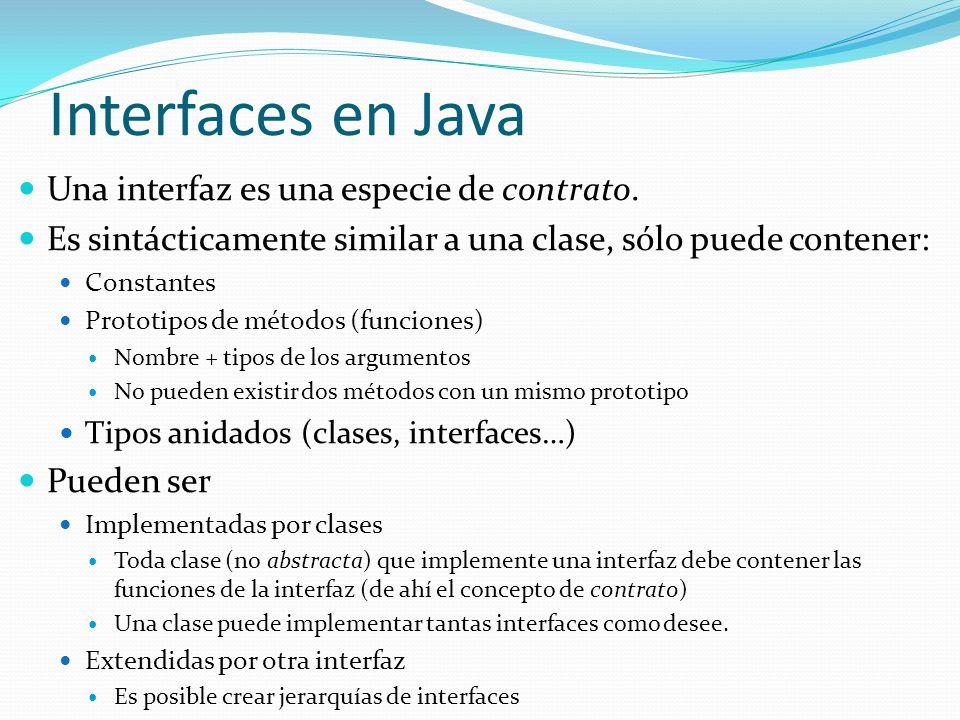 Una interfaz es una especie de contrato. Es sintácticamente similar a una clase, sólo puede contener: Constantes Prototipos de métodos (funciones) Nom