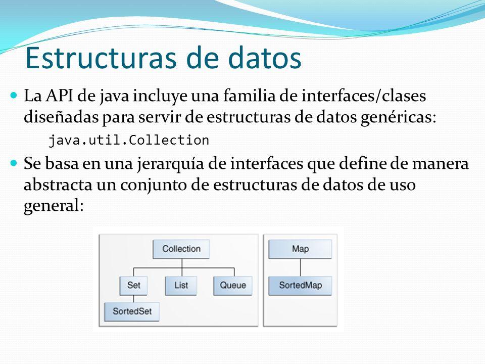 La API de java incluye una familia de interfaces/clases diseñadas para servir de estructuras de datos genéricas: java.util.Collection Se basa en una j