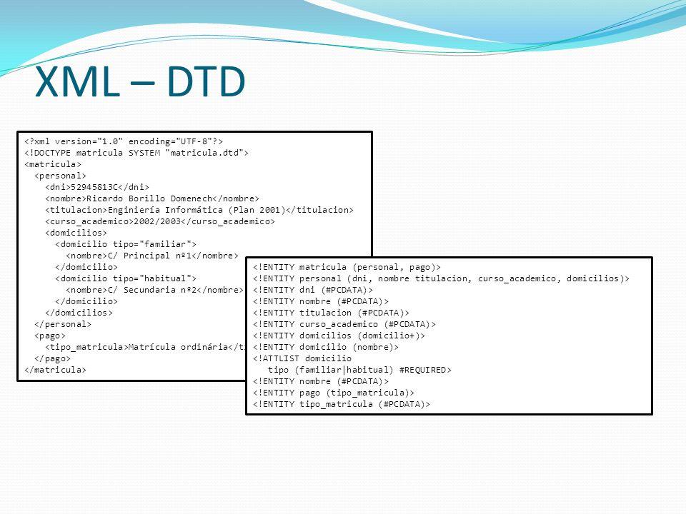 XML – DTD 52945813C Ricardo Borillo Domenech Enginiería Informática (Plan 2001) 2002/2003 C/ Principal nº1 C/ Secundaria nº2 Matrícula ordinária
