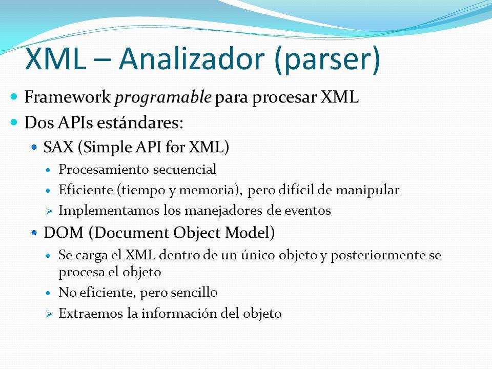 Framework programable para procesar XML Dos APIs estándares: SAX (Simple API for XML) Procesamiento secuencial Eficiente (tiempo y memoria), pero difí