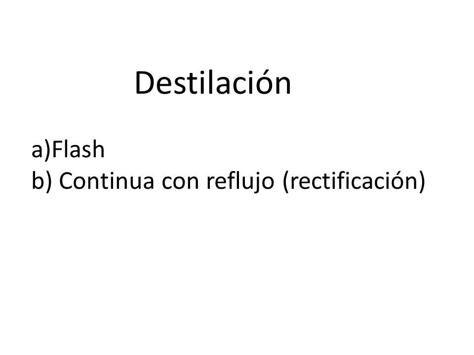 a)Flash b) Continua con reflujo (rectificación) Destilación