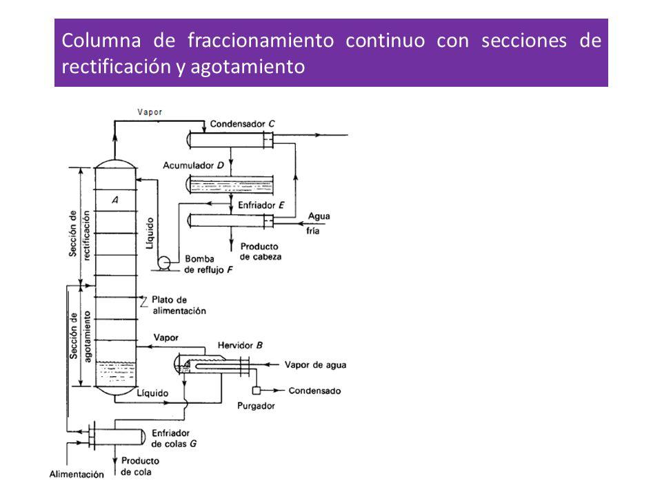 Columna de fraccionamiento continuo con secciones de rectificación y agotamiento