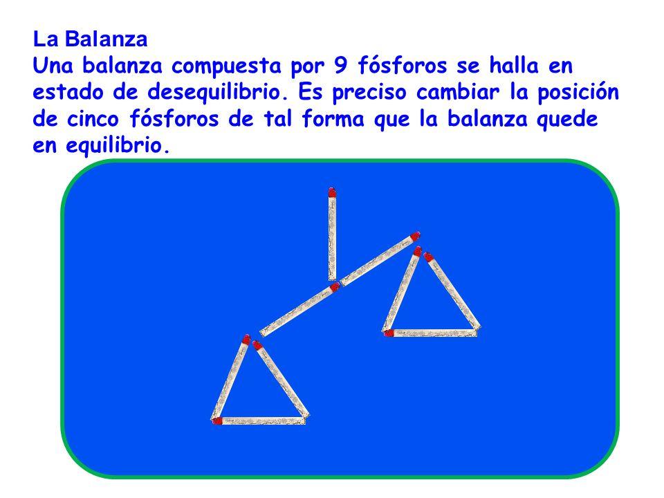 La Balanza Una balanza compuesta por 9 fósforos se halla en estado de desequilibrio. Es preciso cambiar la posición de cinco fósforos de tal forma que
