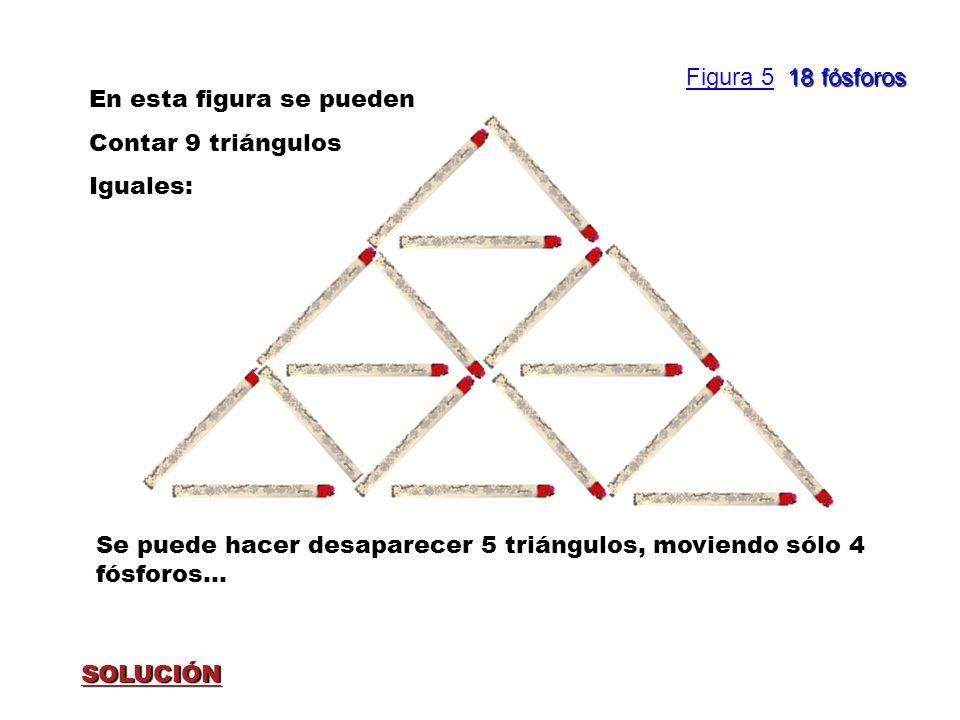 SOLUCIÓN En esta figura se pueden Contar 9 triángulos Iguales: Se puede hacer desaparecer 5 triángulos, moviendo sólo 4 fósforos... 18 fósforos Figura