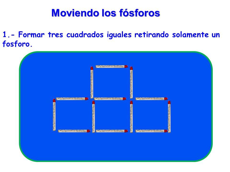 SOLUCIÓN 13 fósforos Figura 11 13 fósforos Retirando 3 fósforos transformar esta figura En tres triángulos.