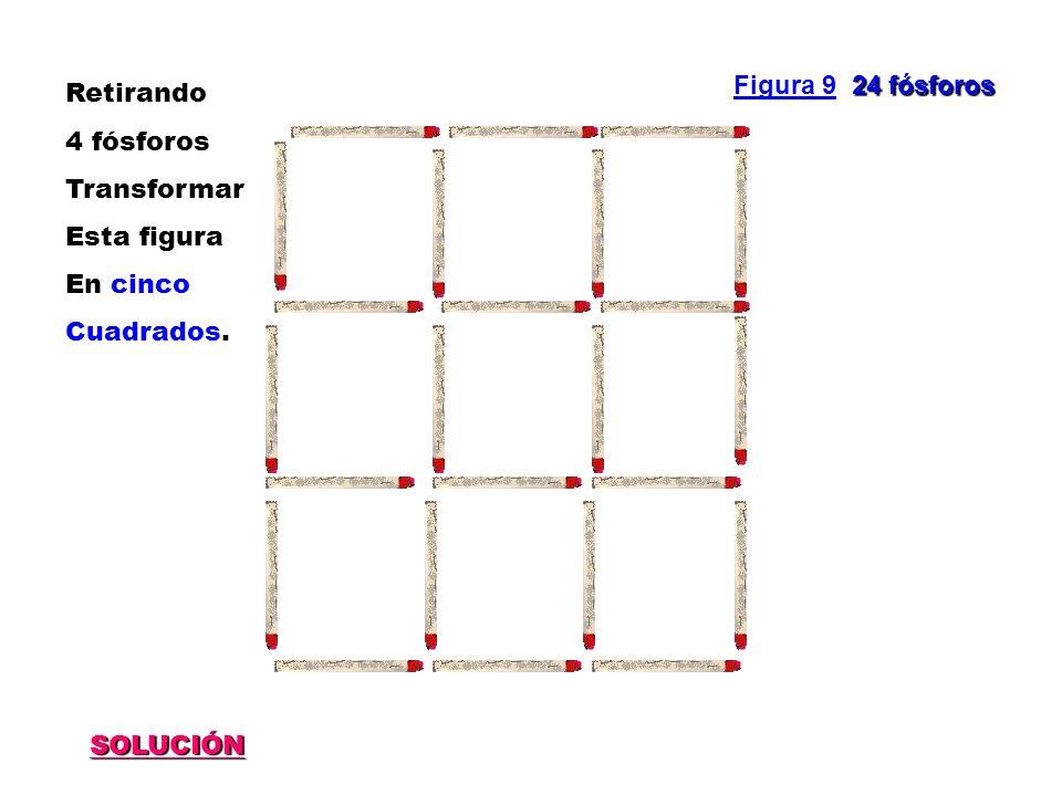 SOLUCIÓN 24 fósforos Figura 9 24 fósforos Retirando 4 fósforos Transformar Esta figura En cinco Cuadrados.