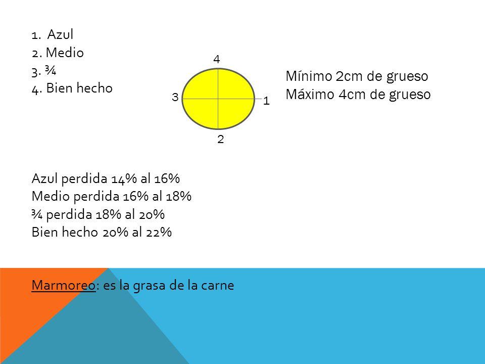 1. Azul 2. Medio 3. ¾ 4. Bien hecho Azul perdida 14% al 16% Medio perdida 16% al 18% ¾ perdida 18% al 20% Bien hecho 20% al 22% Marmoreo: es la grasa