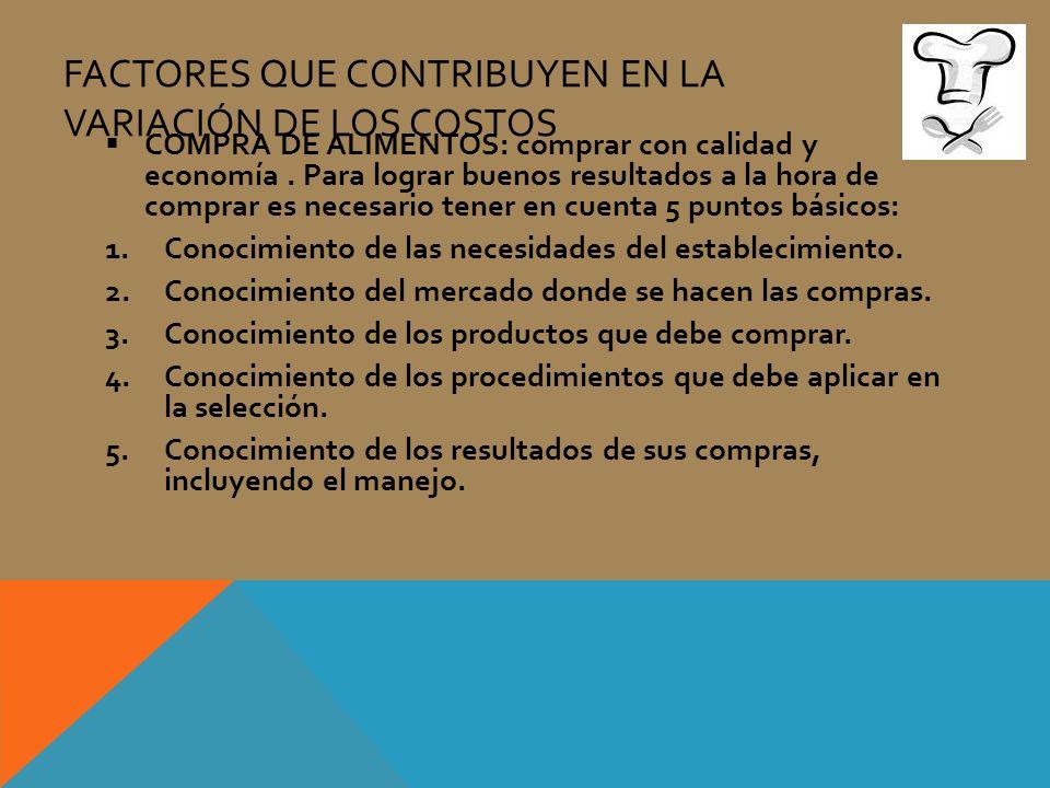 FACTORES QUE CONTRIBUYEN EN LA VARIACIÓN DE LOS COSTOS COMPRA DE ALIMENTOS: comprar con calidad y economía. Para lograr buenos resultados a la hora de