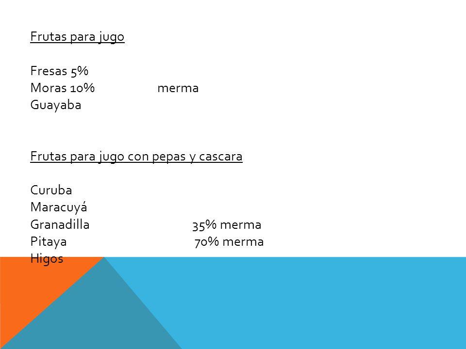 Frutas para jugo Fresas 5% Moras 10% merma Guayaba Frutas para jugo con pepas y cascara Curuba Maracuyá Granadilla 35% merma Pitaya 70% merma Higos