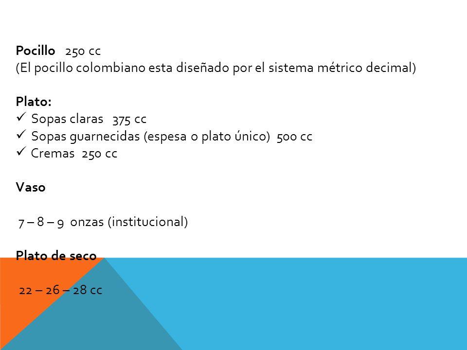 Pocillo 250 cc (El pocillo colombiano esta diseñado por el sistema métrico decimal) Plato: Sopas claras 375 cc Sopas guarnecidas (espesa o plato único