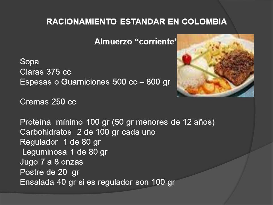 RACIONAMIENTO ESTANDAR EN COLOMBIA Almuerzo corriente Sopa Claras 375 cc Espesas o Guarniciones 500 cc – 800 gr Cremas 250 cc Proteína mínimo 100 gr (