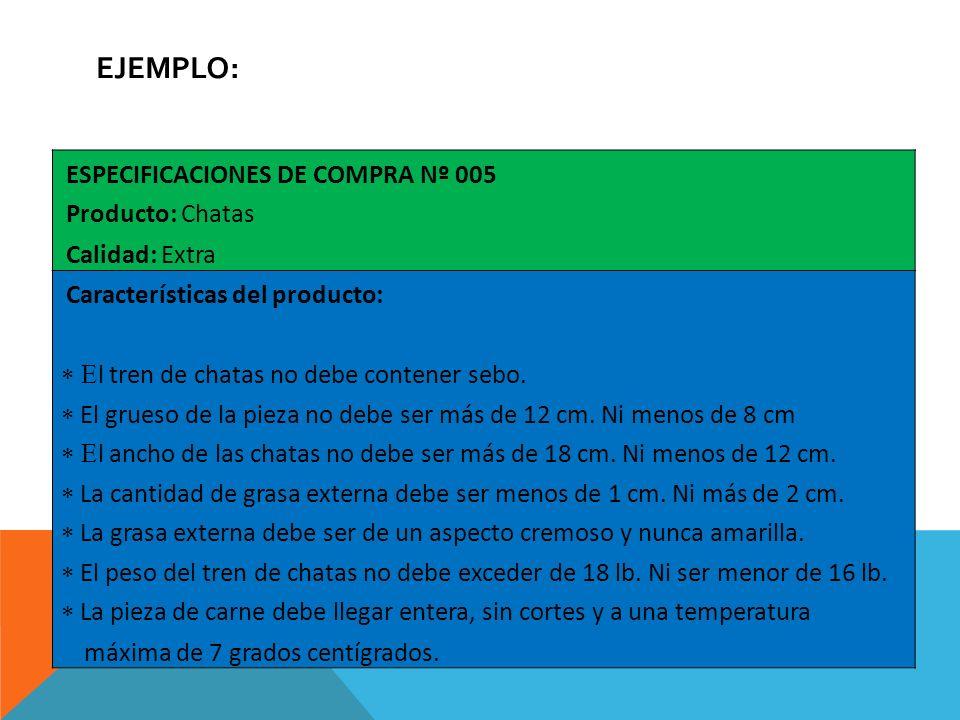 EJEMPLO: ESPECIFICACIONES DE COMPRA Nº 005 Producto: Chatas Calidad: Extra Características del producto: l tren de chatas no debe contener sebo. El gr