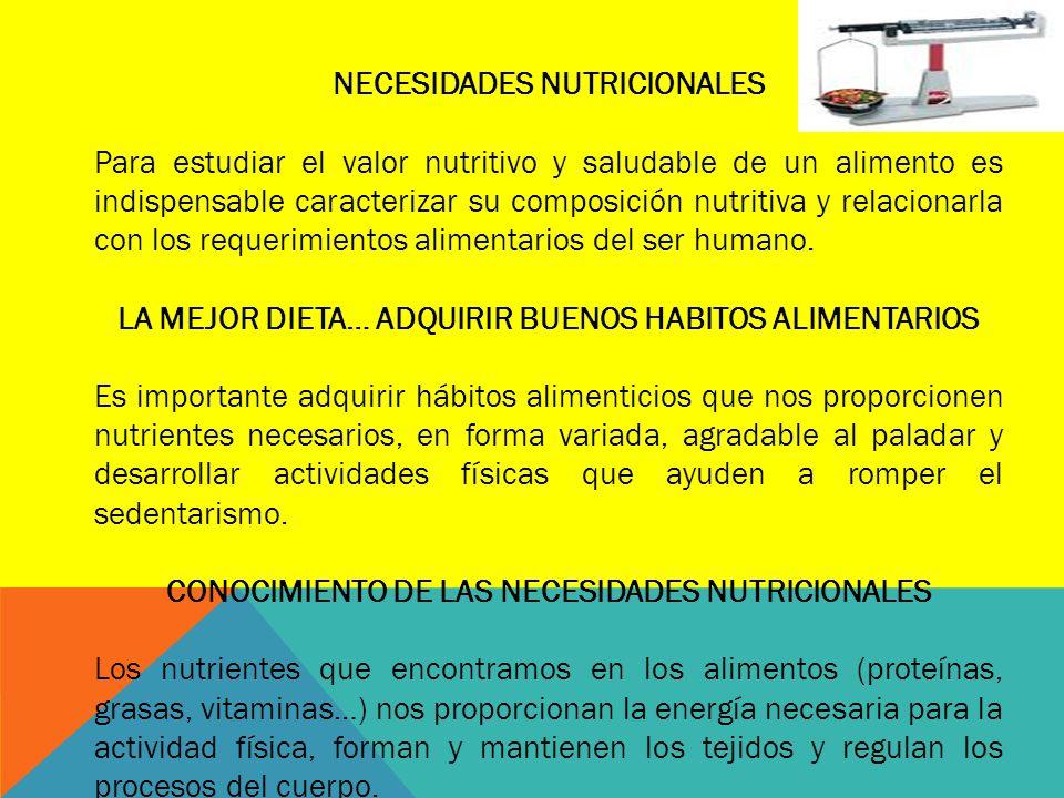 NECESIDADES NUTRICIONALES Para estudiar el valor nutritivo y saludable de un alimento es indispensable caracterizar su composición nutritiva y relacio
