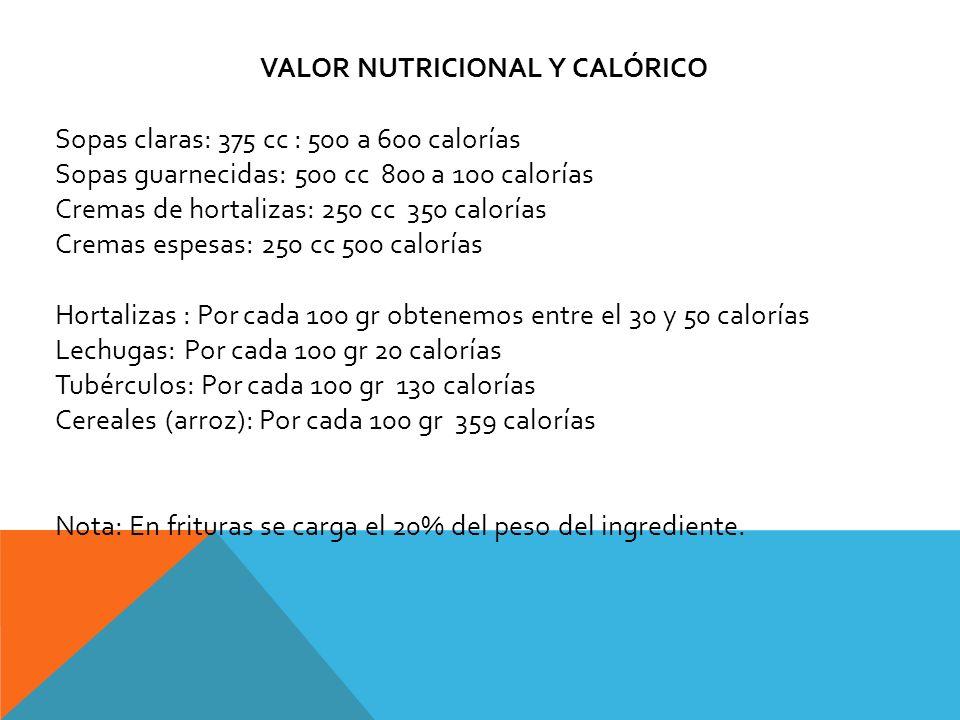 VALOR NUTRICIONAL Y CALÓRICO Sopas claras: 375 cc : 500 a 600 calorías Sopas guarnecidas: 500 cc 800 a 100 calorías Cremas de hortalizas: 250 cc 350 c