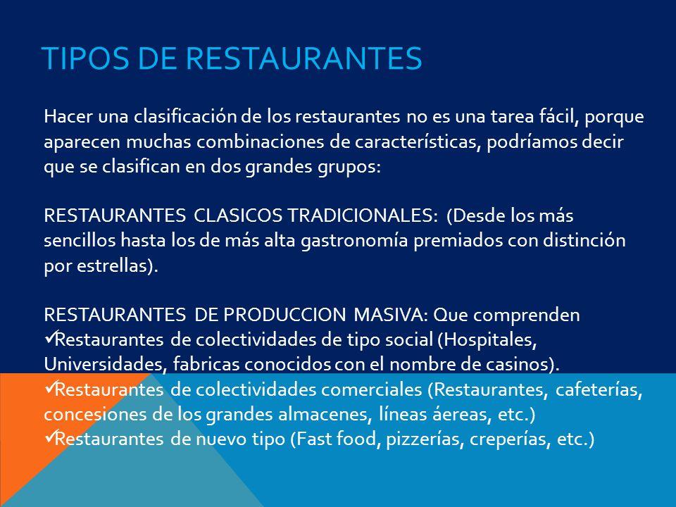 TIPOS DE RESTAURANTES Hacer una clasificación de los restaurantes no es una tarea fácil, porque aparecen muchas combinaciones de características, podr