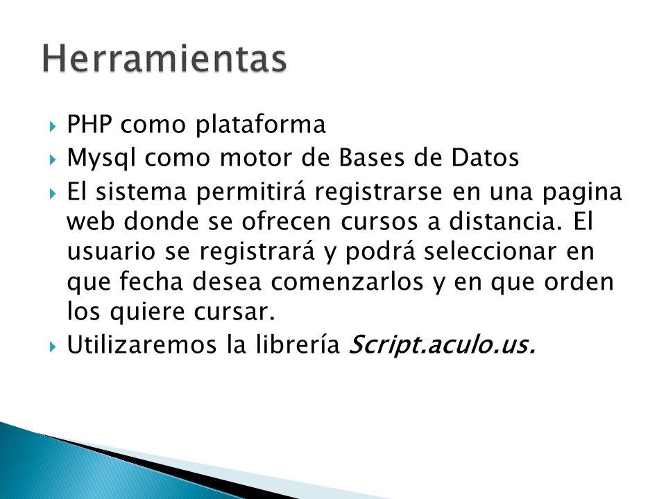PHP como plataforma Mysql como motor de Bases de Datos El sistema permitirá registrarse en una pagina web donde se ofrecen cursos a distancia. El usua
