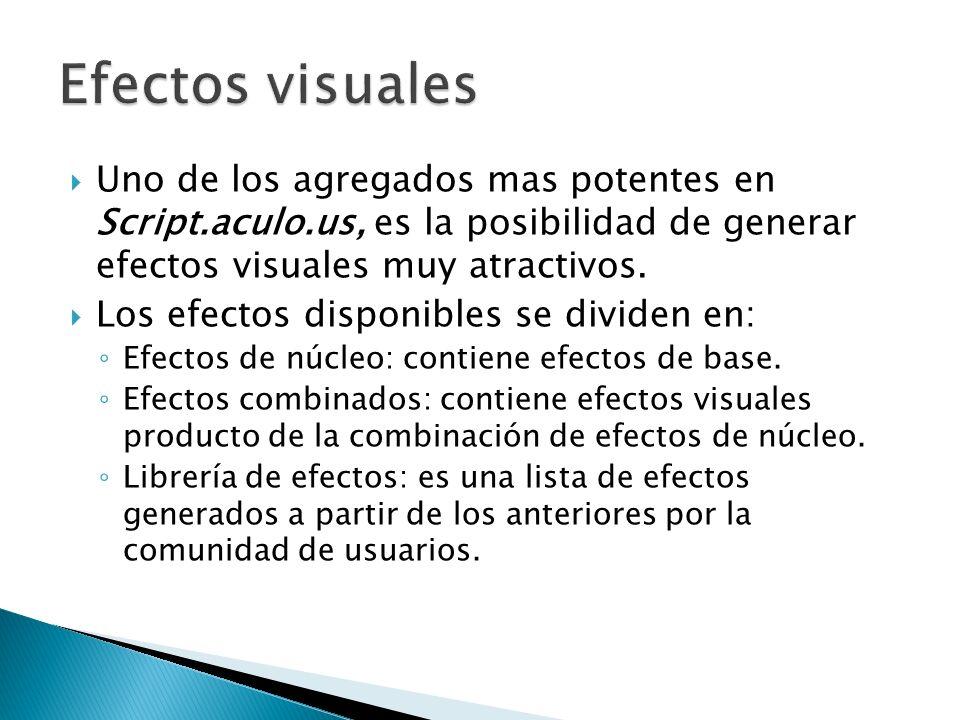 Uno de los agregados mas potentes en Script.aculo.us, es la posibilidad de generar efectos visuales muy atractivos. Los efectos disponibles se dividen
