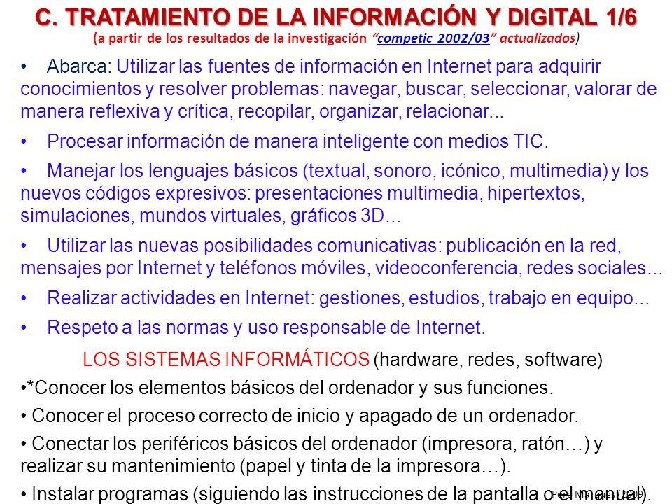 C. TRATAMIENTO DE LA INFORMACIÓN Y DIGITAL 1/6 Abarca: Utilizar las fuentes de información en Internet para adquirir conocimientos y resolver problema