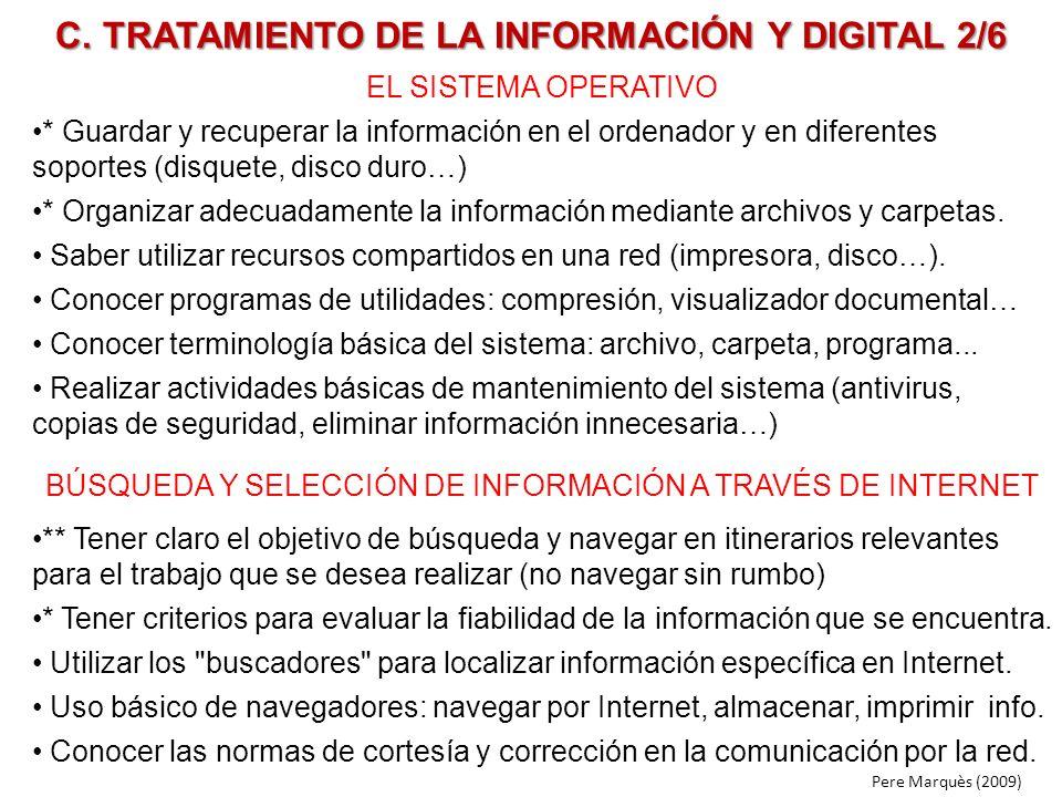 C. TRATAMIENTO DE LA INFORMACIÓN Y DIGITAL 2/6 EL SISTEMA OPERATIVO * Guardar y recuperar la información en el ordenador y en diferentes soportes (dis