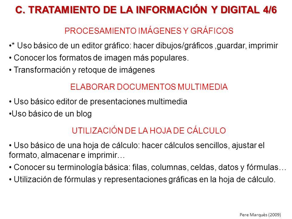 C. TRATAMIENTO DE LA INFORMACIÓN Y DIGITAL 4/6 PROCESAMIENTO IMÁGENES Y GRÁFICOS * Uso básico de un editor gráfico: hacer dibujos/gráficos,guardar, im