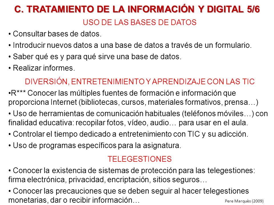 C. TRATAMIENTO DE LA INFORMACIÓN Y DIGITAL 5/6 USO DE LAS BASES DE DATOS Consultar bases de datos. Introducir nuevos datos a una base de datos a travé