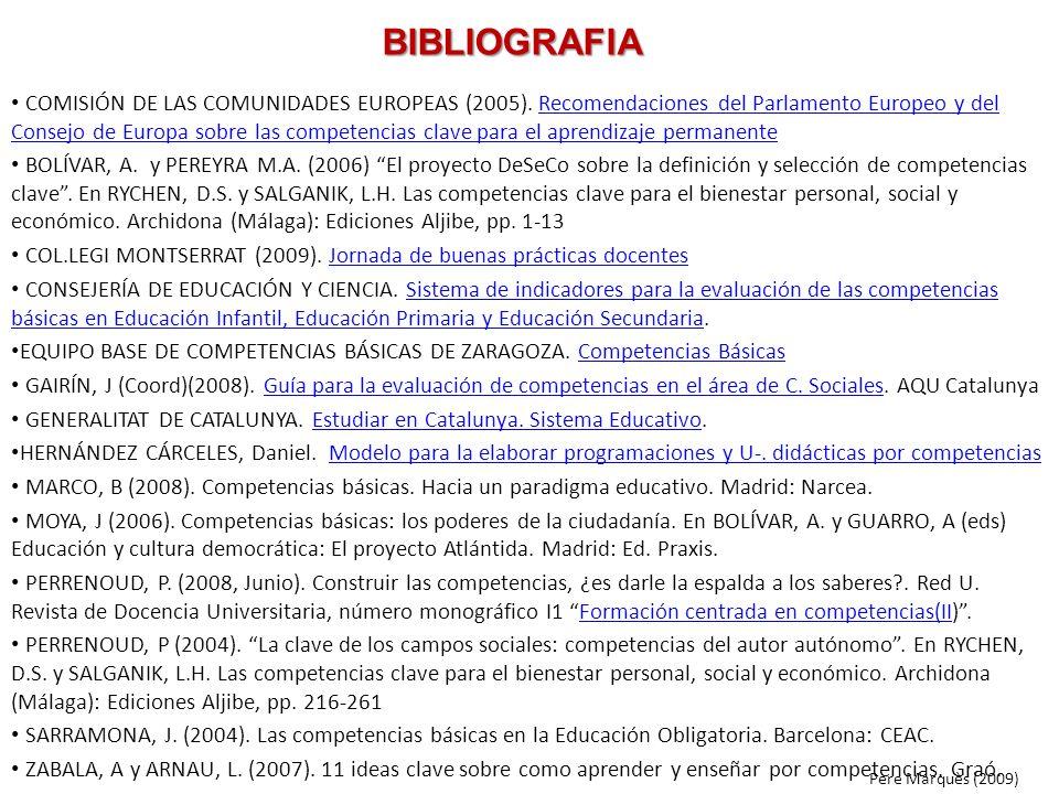 BIBLIOGRAFIA COMISIÓN DE LAS COMUNIDADES EUROPEAS (2005). Recomendaciones del Parlamento Europeo y del Consejo de Europa sobre las competencias clave